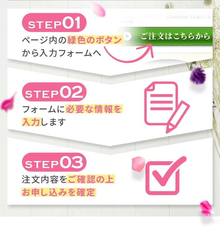 ページ内の緑色のボタンから入力フォームへ。必要な情報を入力して、注文内容をご確認のうえお申込みを確定